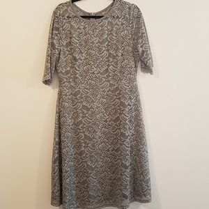Lace grey /silver half sleeve dress